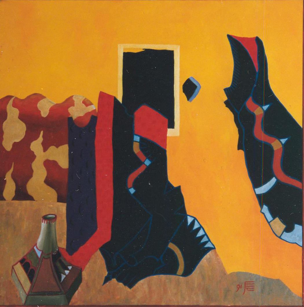 Paraphrase nach dem Albrechtsaltar, 1992, Acryl auf Leinwand, 90 x 90 cm