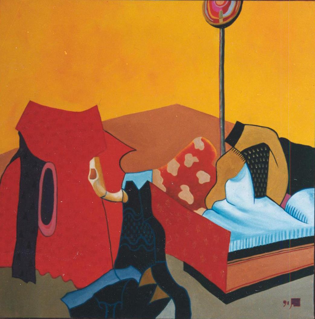 Paraphrase nach dem Albrechtsaltar (Marientod), 1992, Acryl auf leinwand, 90 x 90 cm