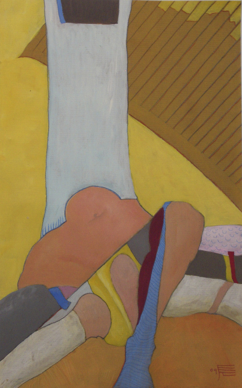 Glber Knietorso, 2009, Acryl auf Packpapier, 19 x 29,7