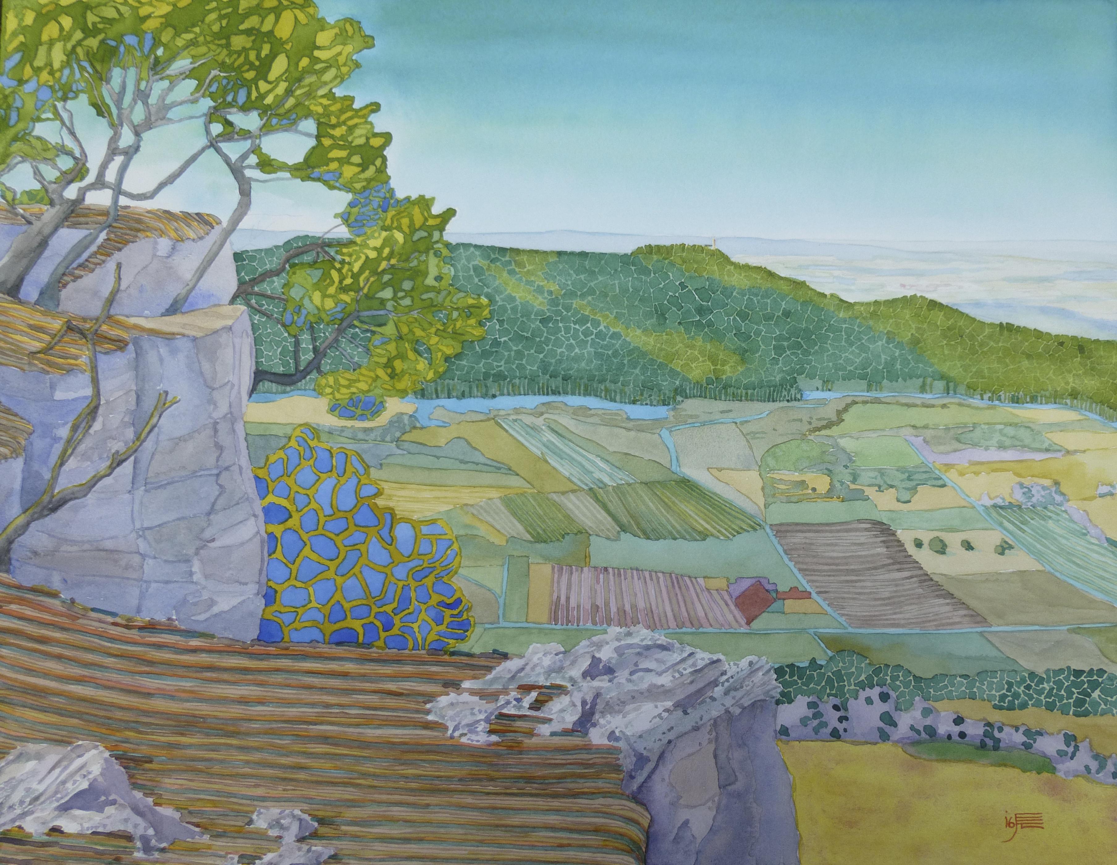 vom Breitenstein zur Teck, Aquarell, 2016, 31 x 41 cm
